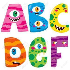 Funny Halloween alphabet with cute a b c d e f monster characters